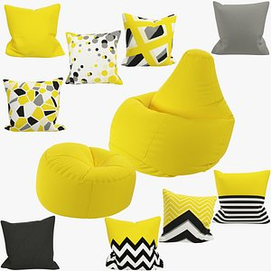 Bean Bag Chairs and Pillows Collection V1 model