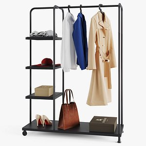 3D Rack Ikea Kornsjo With Clothes And Accessories model