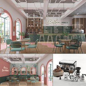 3D brewing store interior coffee