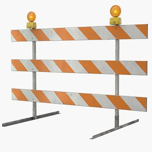 3D roadworks barricade warning light