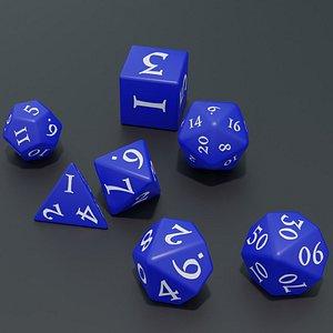 3D RPG dice asset Blue model