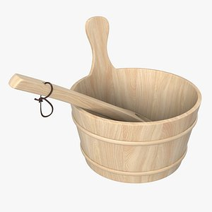 sauna wooden bucket 3D model