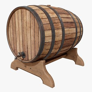 3D Wooden Barrel 4 with Pbr 4K model