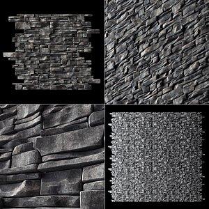 wall rock brick 3D