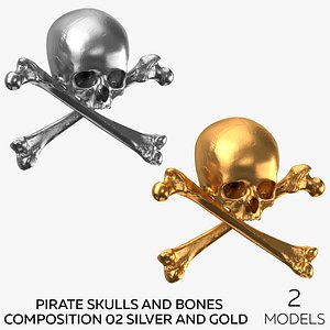 Pirate Skulls and Bones Composition 02 - Silver and Gold model
