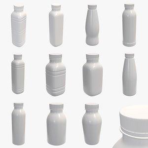 plastic bottle yogurt 3D