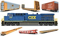 Freight Train Locomotive Railroad Cars