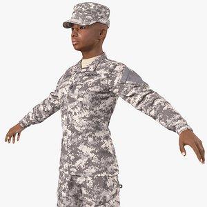 black female soldier acu 3D