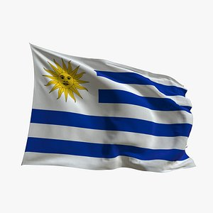 Realistic Animated Flag - Microtexture Rigged - Put your own texture - Def Uruguay 3D