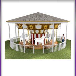 Classic carnival Carousel 3D model