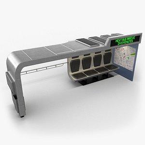 sci-fi bus stop 3D