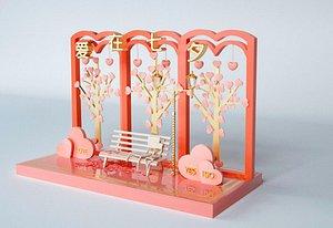 Valentine Day bench model