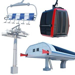 cableway car lift 3D