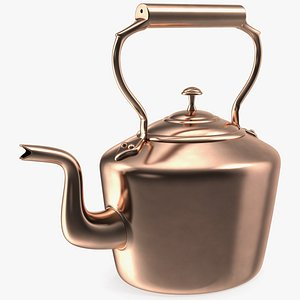 3D vintage oval copper kettle