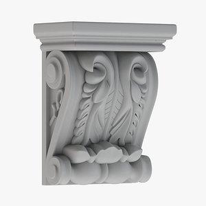 3D model Scroll Corbel 60 - 3D Printable