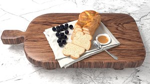 toast with blackberry on cutting board 3D