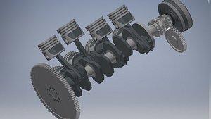 3D Engine v8 turbo hydrostatic transmission model