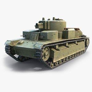 low-poly medium tank t-28 model