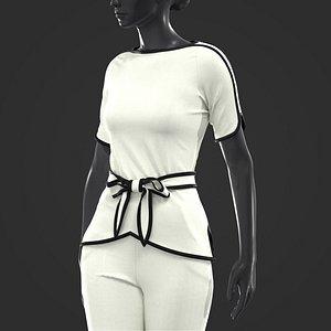 3D Women Blouse and Pants Set