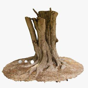 Red Oak Tree trunk 3D