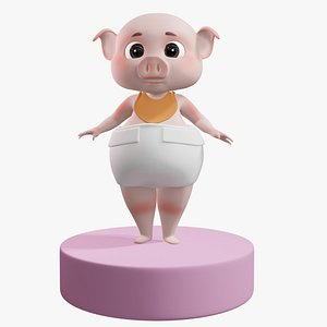 Cartoon Baby Pig with BIB 3D Model 3D model
