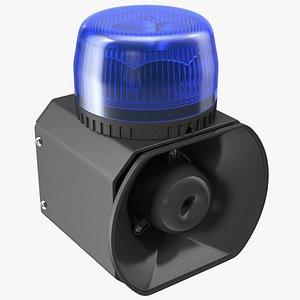 3D emergency siren beacon blue model