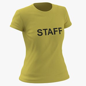 3D model Female Crew Neck Worn Yellow Staff 02