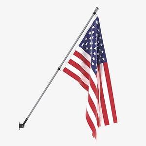 3D flag flagpole outdoor model