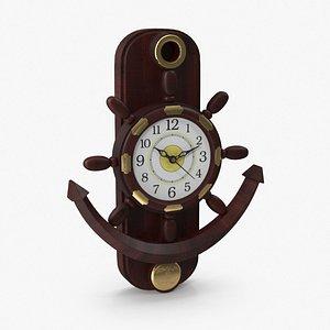 3D model antique wall clock wallclock