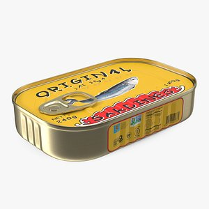 3D Tin Can of Preserved Sardine with Pull Tab Lid model