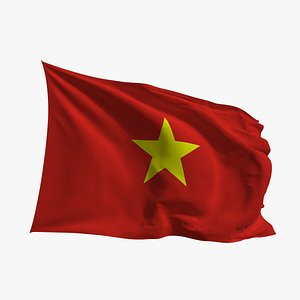 3D Realistic Animated Flag - Microtexture Rigged - Put your own texture - Def Vietnam