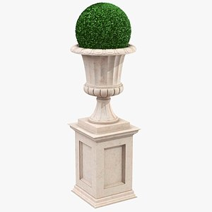 3D model Stone Planter With Bush