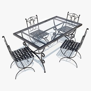 3D wrought-iron table chairs model