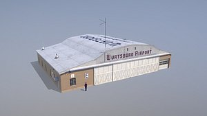 airport hangar e 3D model