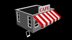 Low Poly Cafe Isographic 2.5D-3D model