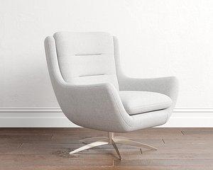 Boucle Twill Gravel Lennon Chair model
