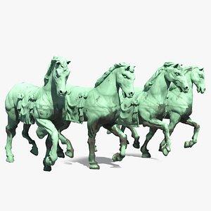 quadriga horses sculpture statue 3D