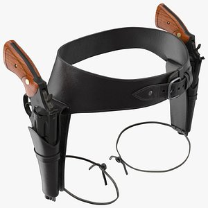3D Double Gun Belt Black with Revolvers