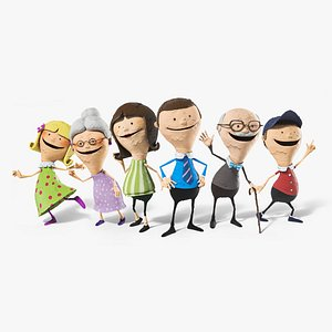 3D Family Cartoon Characters model