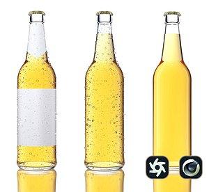 render clear beer bottle 3D