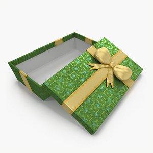 3D model Gift Box Open Green