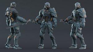 Robot Ninja Character Low-Poly 3D