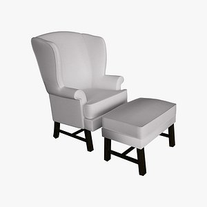 3D chair ottoman style model