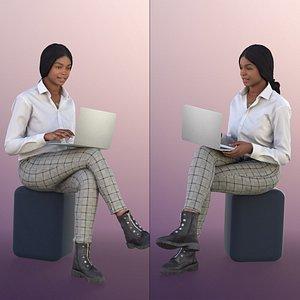3D woman sitting laptop
