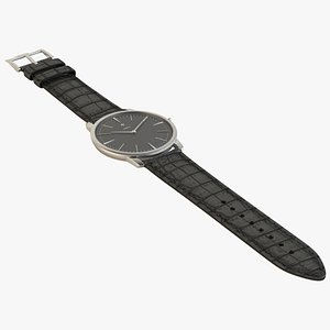 luxury watch silver black 3D model