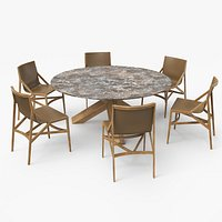 Cassina Dining Table Chair Set Oak Marble Brown