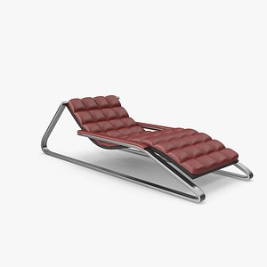 Red Leather Sun Lounger 3D