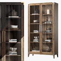 Cayden  Campaign Glass Double-door Cabinet