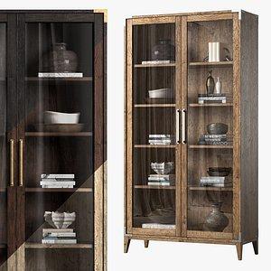 Cayden  Campaign Glass Double-door Cabinet 3D model