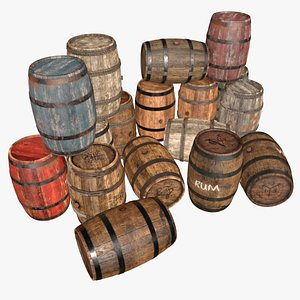barrel wooden industrial 3D model